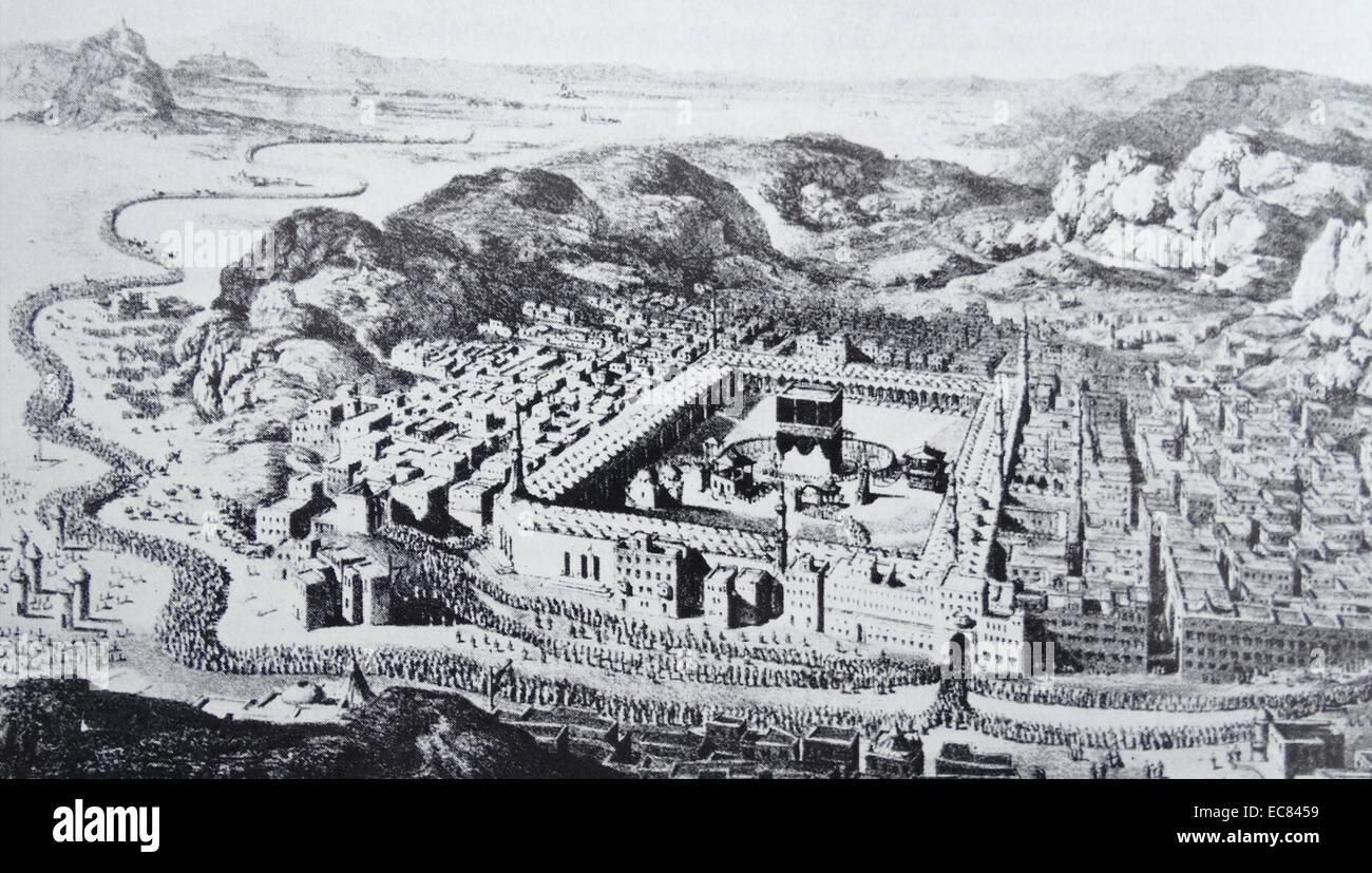 La Mecca con il santo siti; incluso il Dutch Islam studioso letargico stesso. Immagini Stock