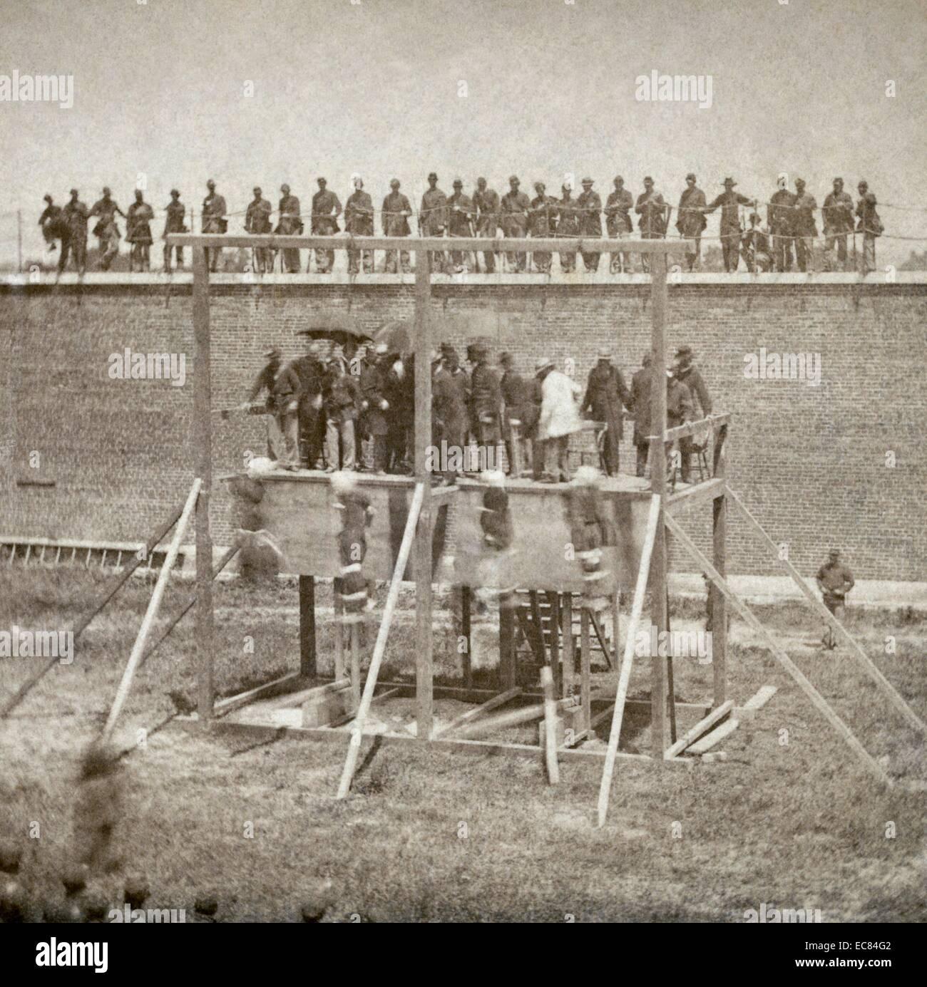 Fotografia della esecuzione dei cospiratori Lincoln Immagini Stock