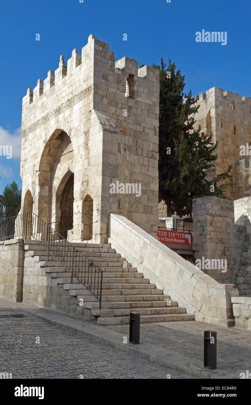 La torre di Davide il museo della storia di Gerusalemme. Immagini Stock