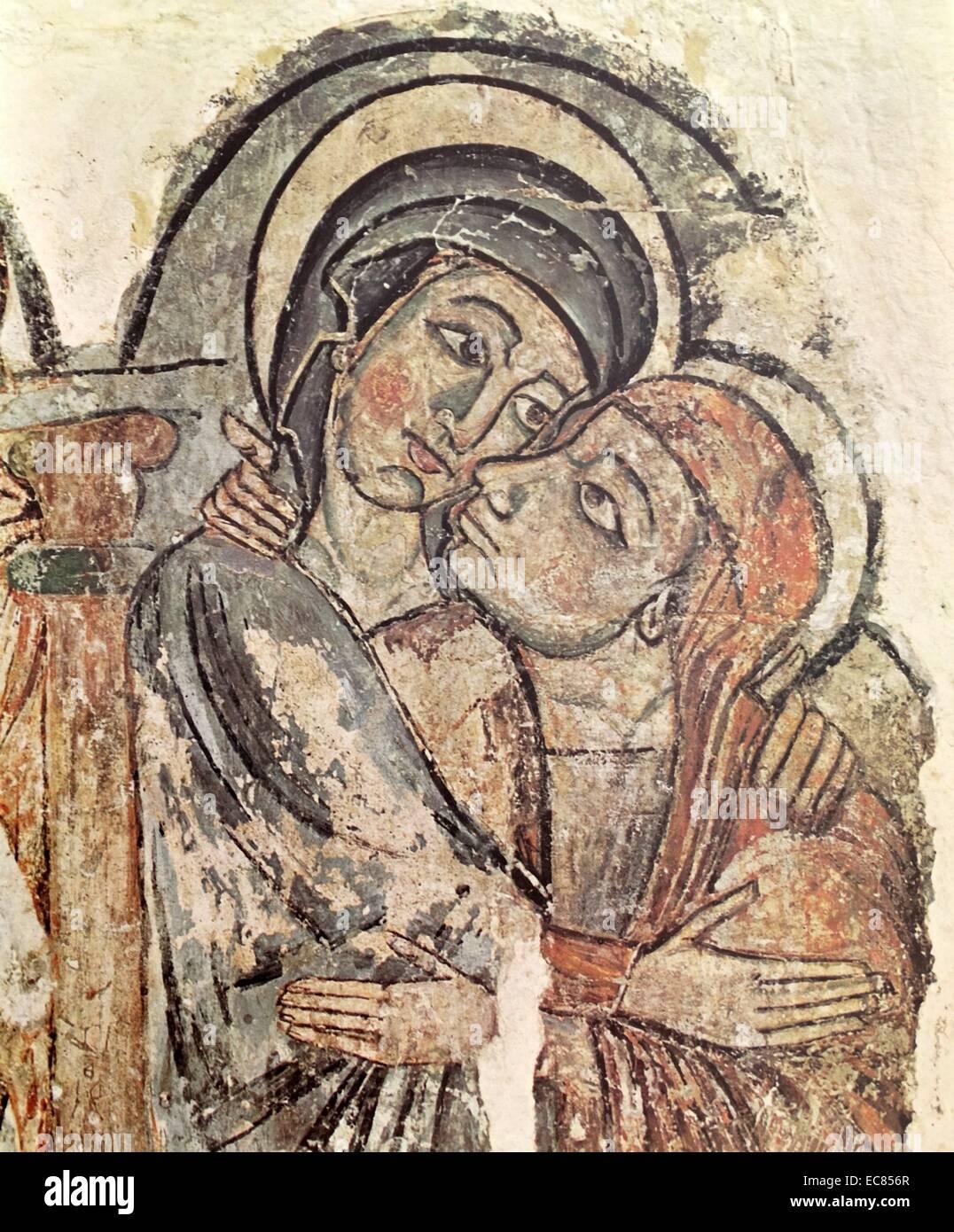 Frammento della Visitazione la Catalogna. Datata XIII secolo. Immagini Stock