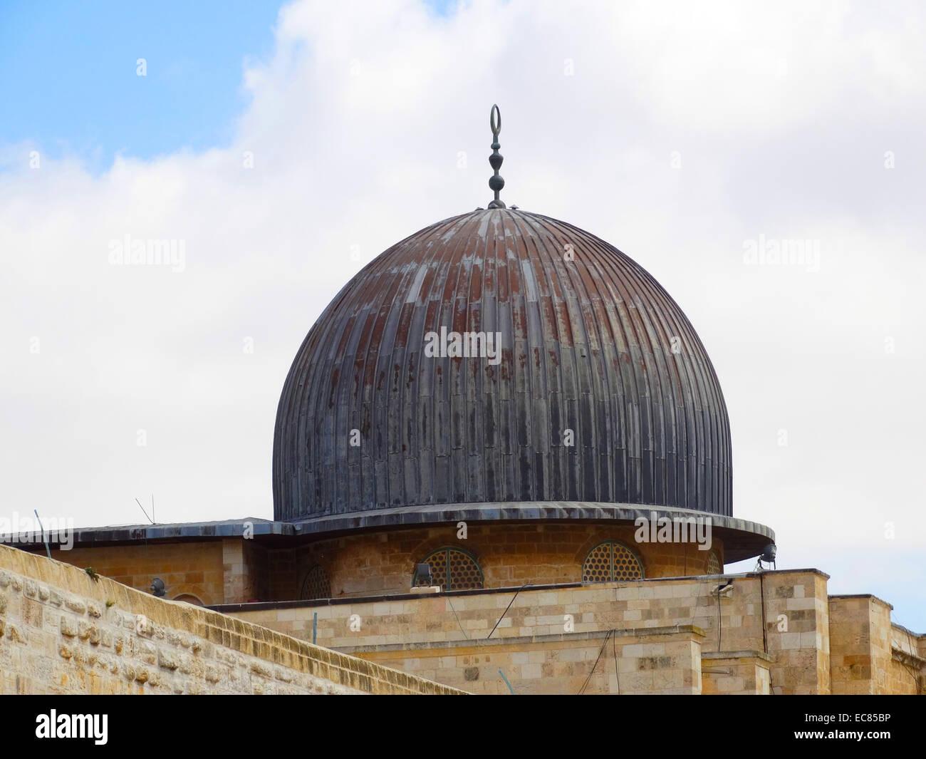 La Moschea di Al-Aqsa; il terzo sito più sacro dell'Islam; si trova nella città vecchia di Gerusalemme. Immagini Stock