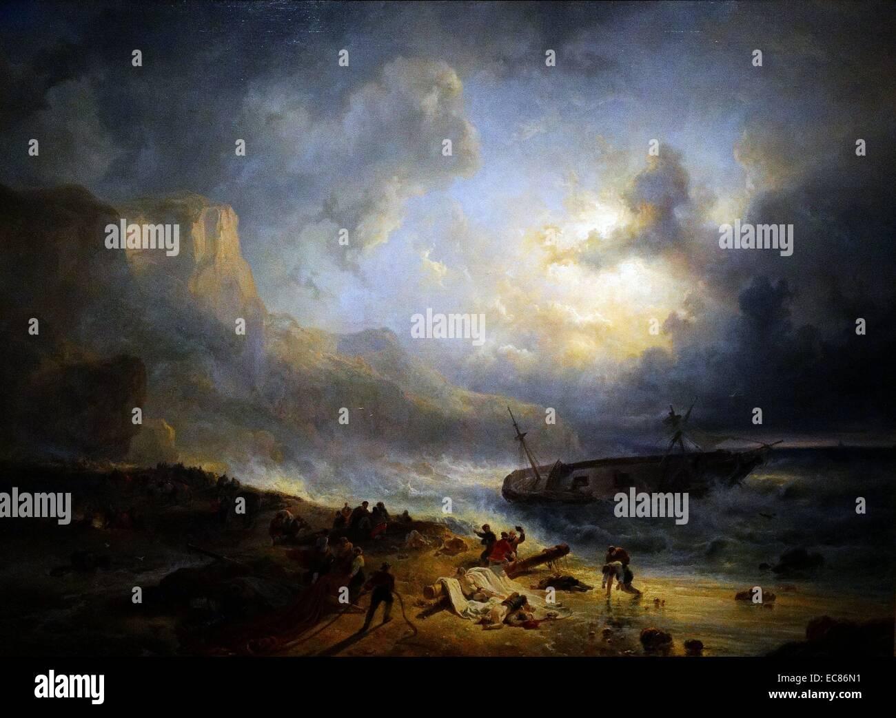 Pittura intitolato 'Shipwreck fuori da una costa rocciosa' Immagini Stock