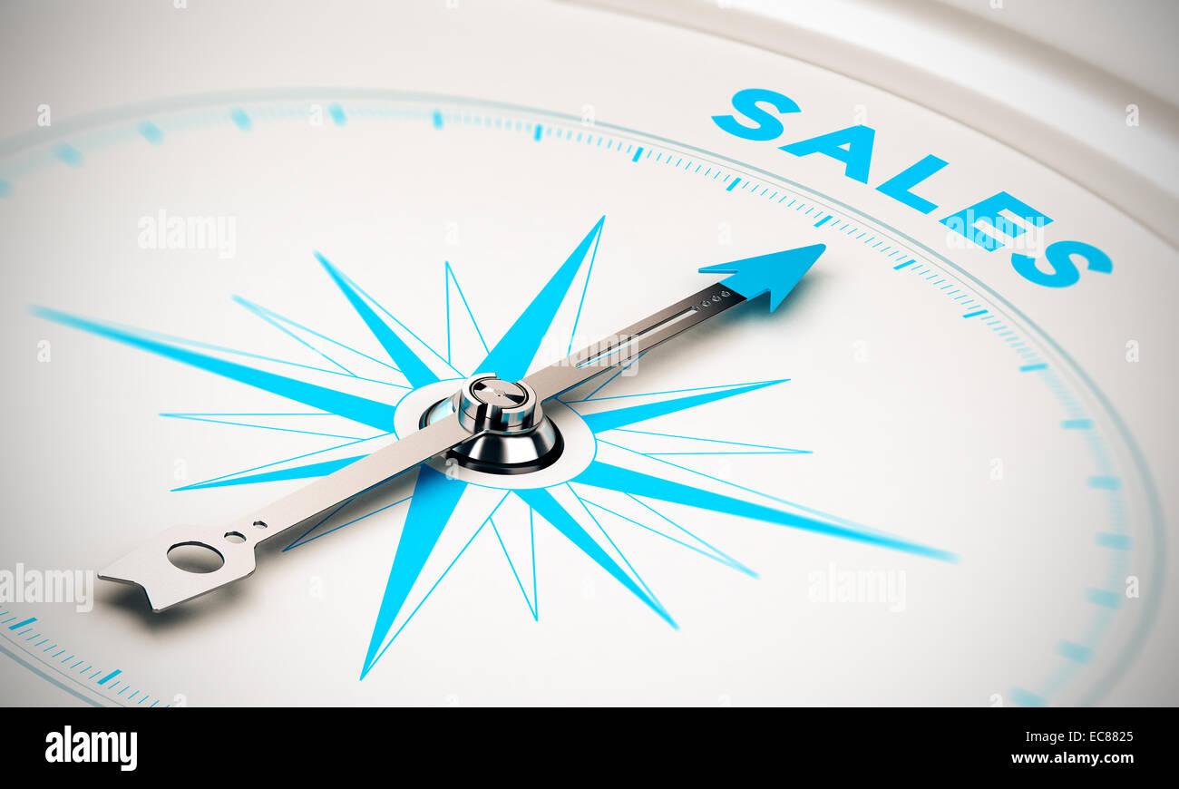 Bussola con ago rivolto la parola sales, bianco e i toni di blu. immagine di sfondo per l'illustrazione degli Immagini Stock