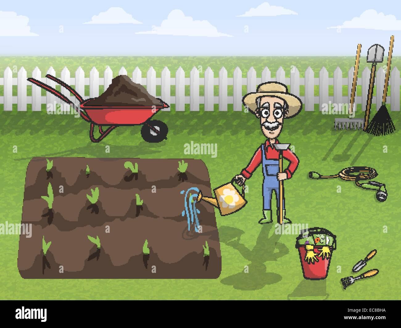 Felice giardiniere personaggio dei fumetti in hat impianti di irrigazione e  il concetto di suolo poster illustrazione vettoriale 4f5bfe91d78a
