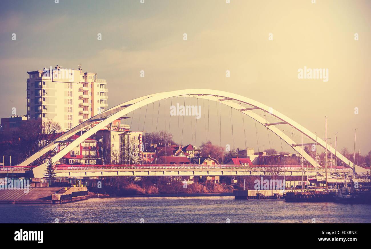 Retro Vintage filtrata una foto di un ponte di Kolobrzeg, Polonia. Immagini Stock