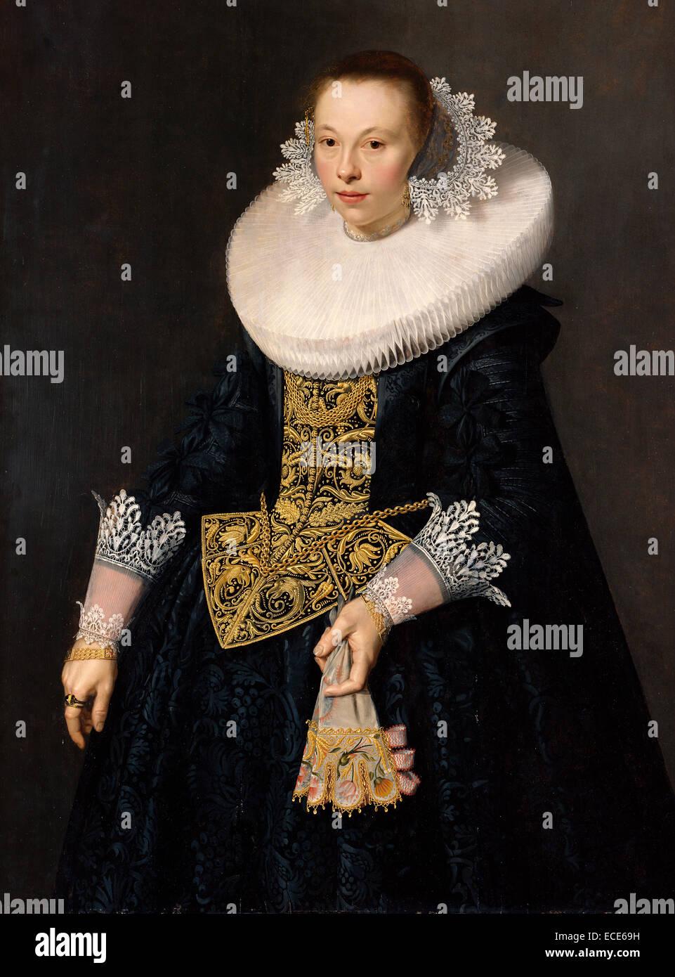 Ritratto di una giovane donna; Nicolaes Eliasz. Pickenoy, Olandese, 1590/1591 - 1654/1656; 1632; olio su pannello; Immagini Stock