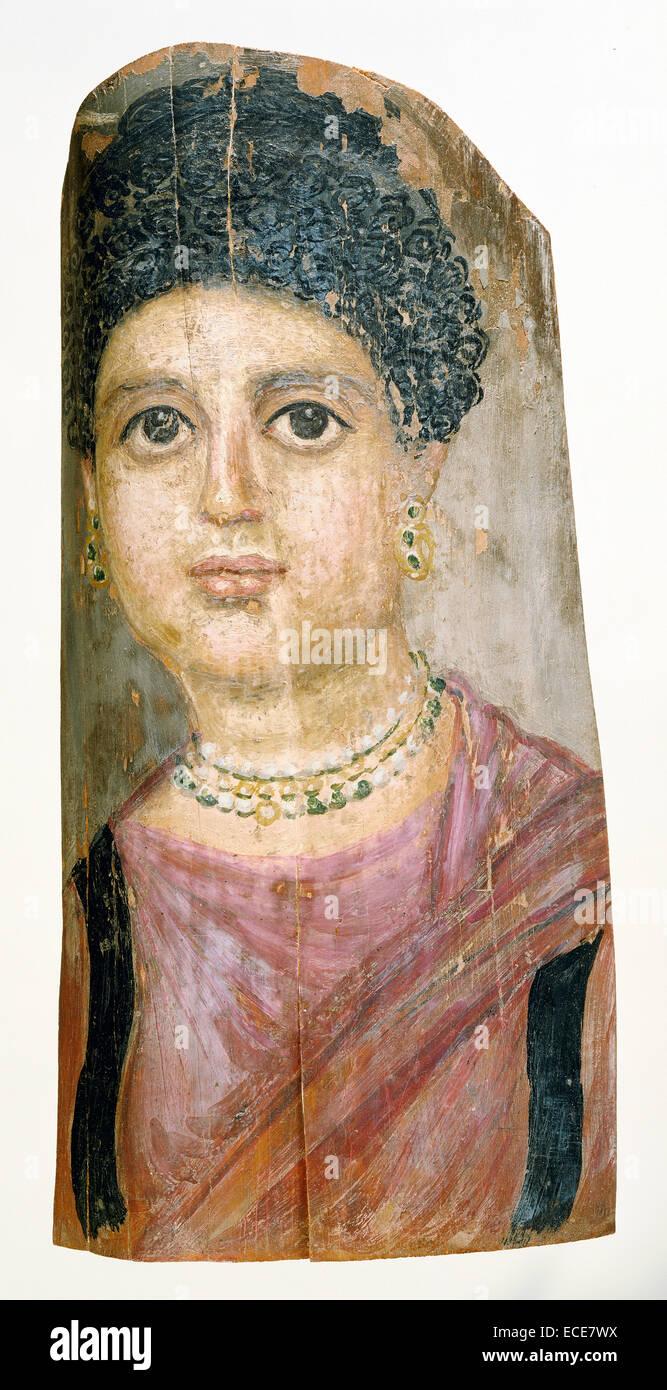 Mummia ritratto; attribuita al Pittore Malibu, Romano-Egyptian, attivo 75 - 100; Hawara, Egitto, Africa; 75 - 100; Immagini Stock