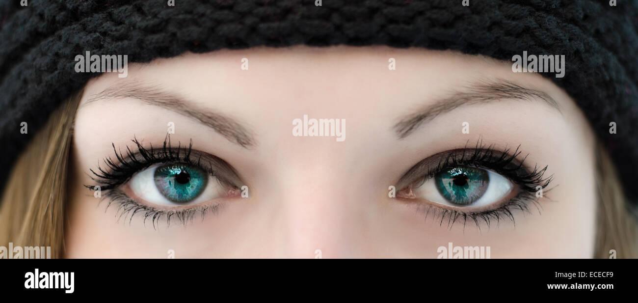 Close-up di occhi di donna Immagini Stock