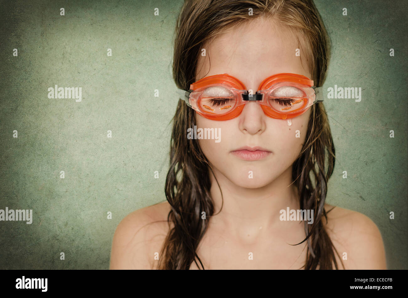 Dreaming bambina (8-9) Immagini Stock