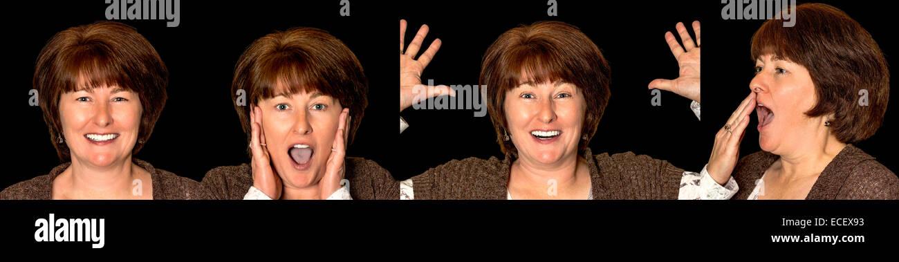 Donna con molte diverse espressioni Immagini Stock