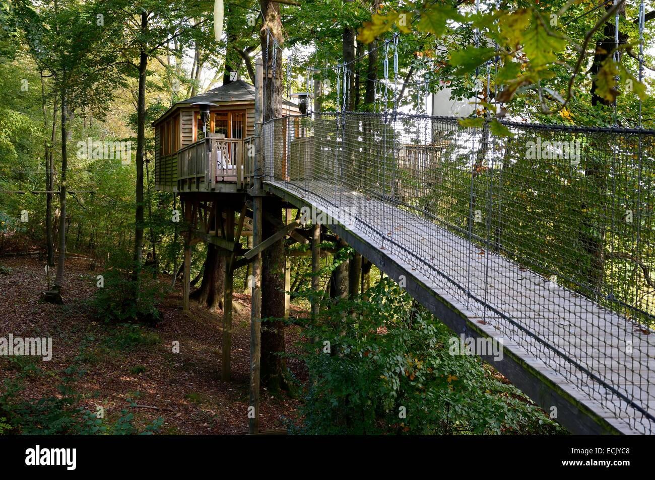 Francia, Marne, parco regionale delle Montagne de Reims, Verzenay, la barra di palissonatura, una passerella in Immagini Stock