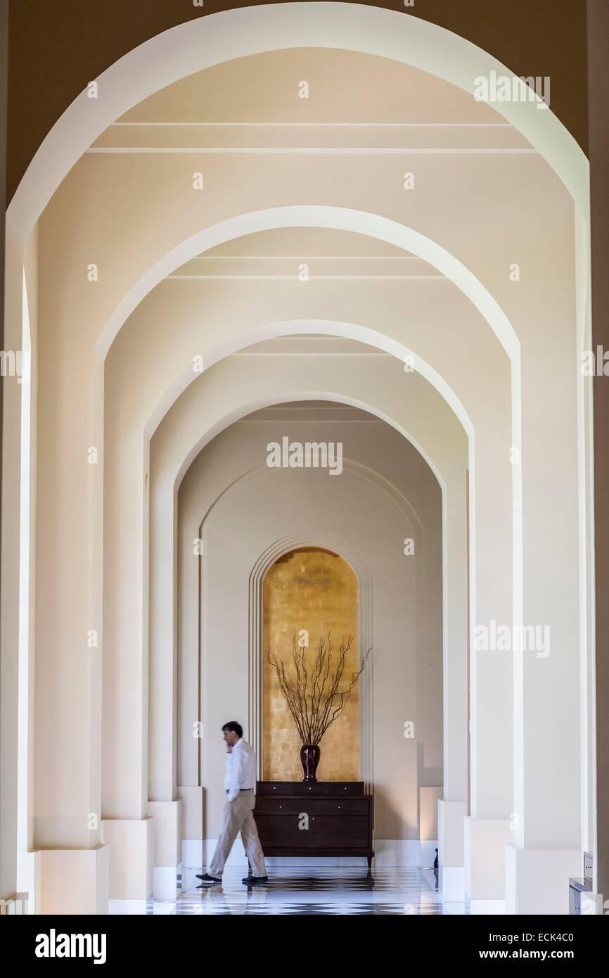 India, Nuova Delhi, Gurgaon, Hotel Trident (hotel Oberoi Group) progettata dall architetto tailandese Lek Bunag, Immagini Stock
