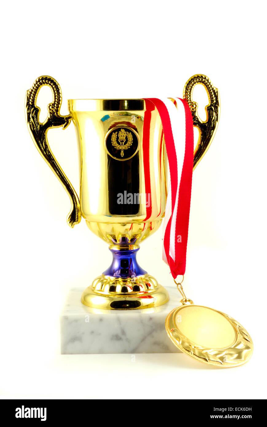 Gold Cup e medaglia, win concept Immagini Stock
