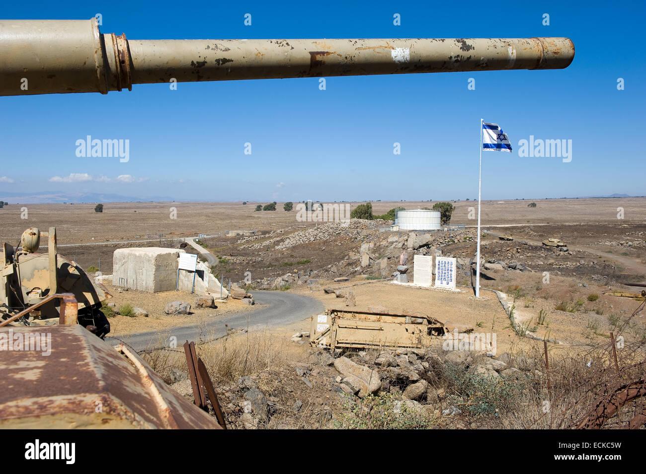 Canna di un vecchio centurione serbatoio su 'tel e-saki 'sulle alture del Golan in Israele Immagini Stock
