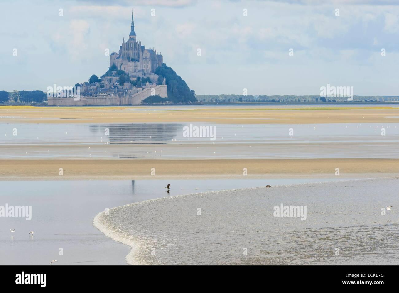 Francia, Manche, baia di Mont Saint Michel, classificato come patrimonio mondiale dall UNESCO, il foro di marea Immagini Stock