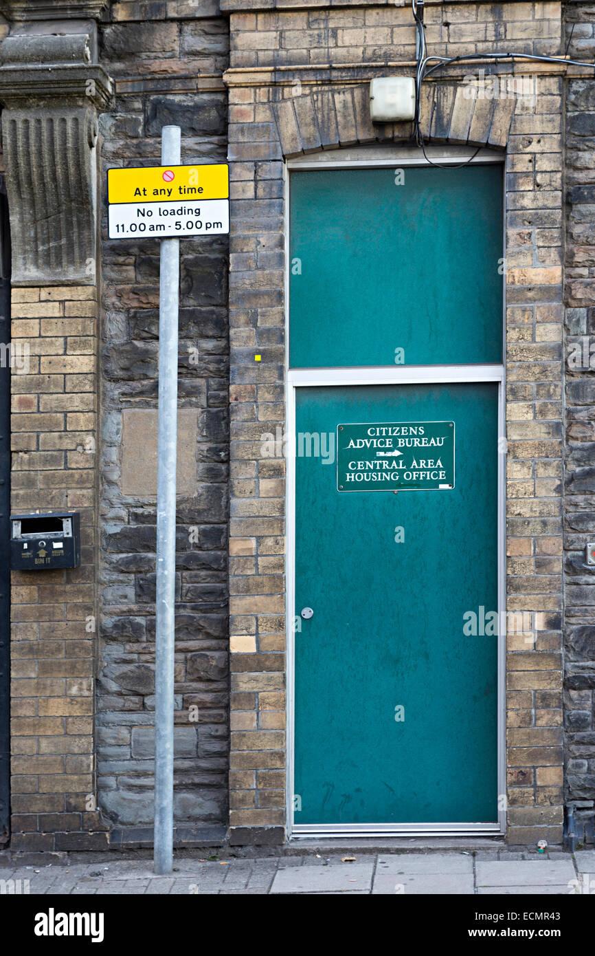Citizens Advice Bureau porta, newport gwent, Wales, Regno Unito Immagini Stock