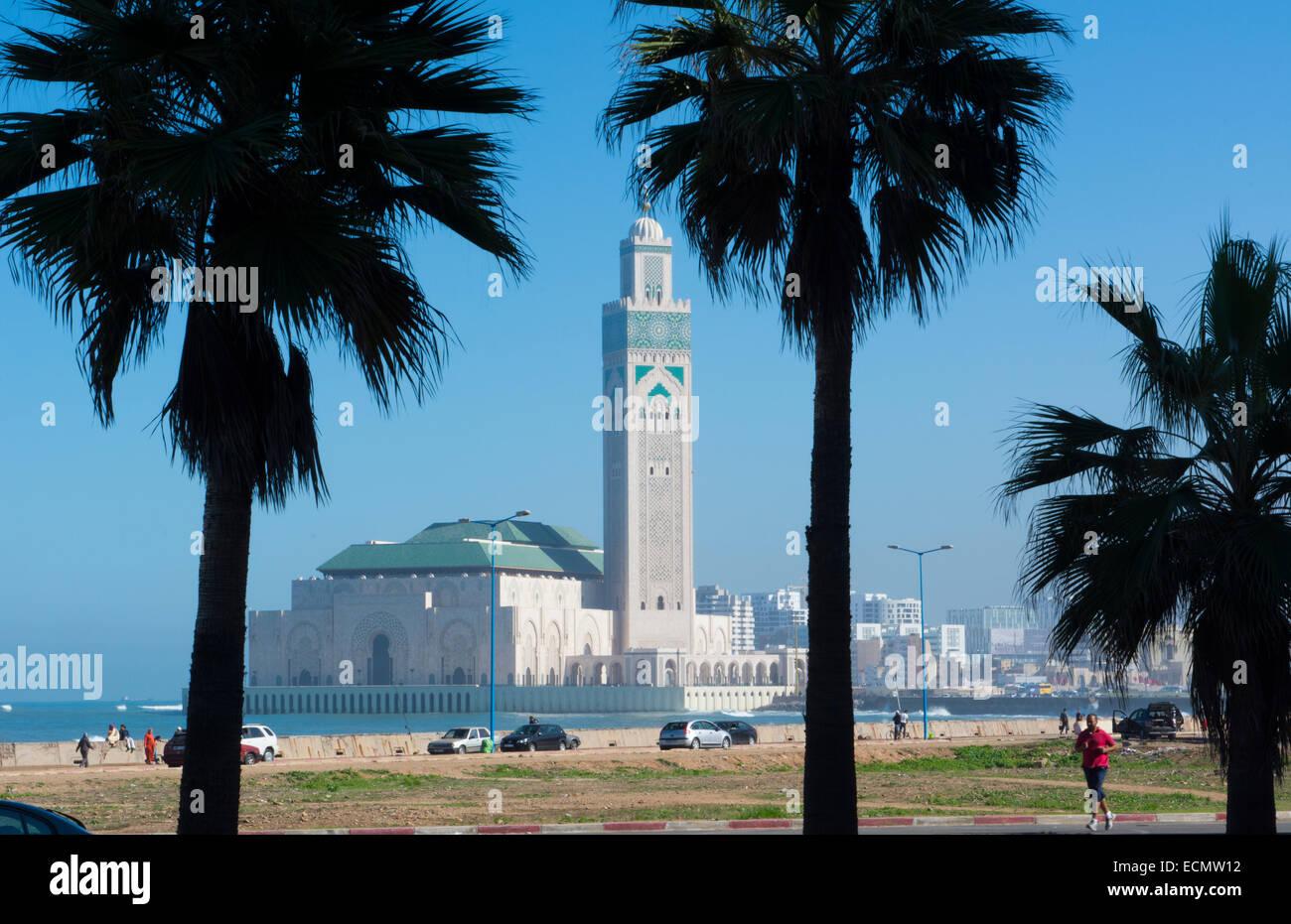 Casablanca Marocco esterno famosa Hassen II moschea più grande moschea in Marocco e il settimo più grande Immagini Stock