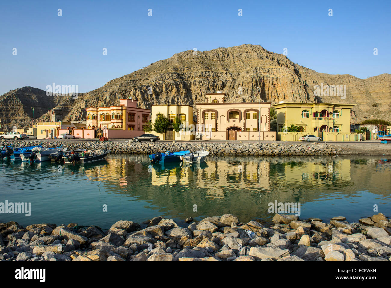 Case sull'acqua, Khasab, Musandam, Oman Immagini Stock