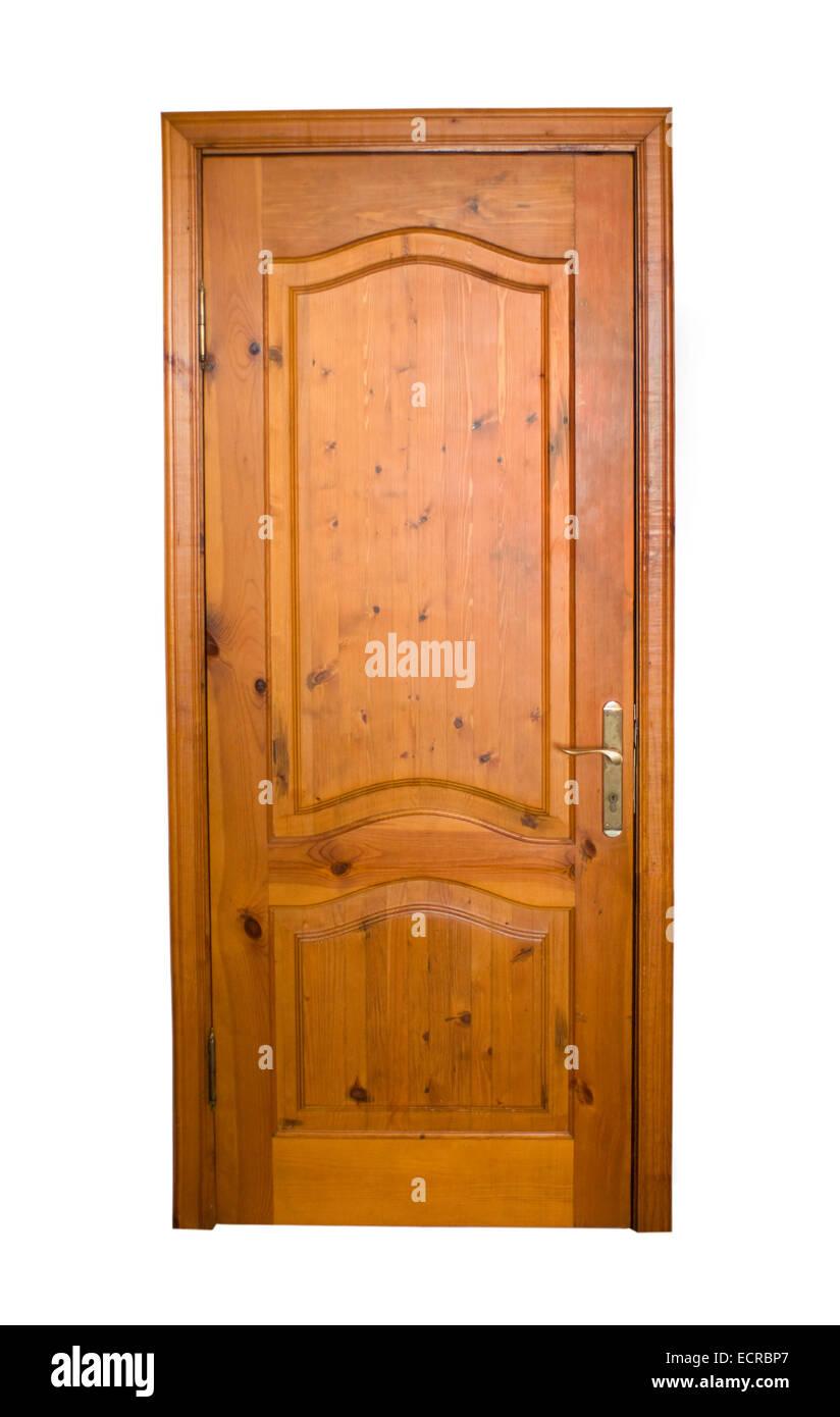 Porta di legno isolato su sfondo bianco Immagini Stock