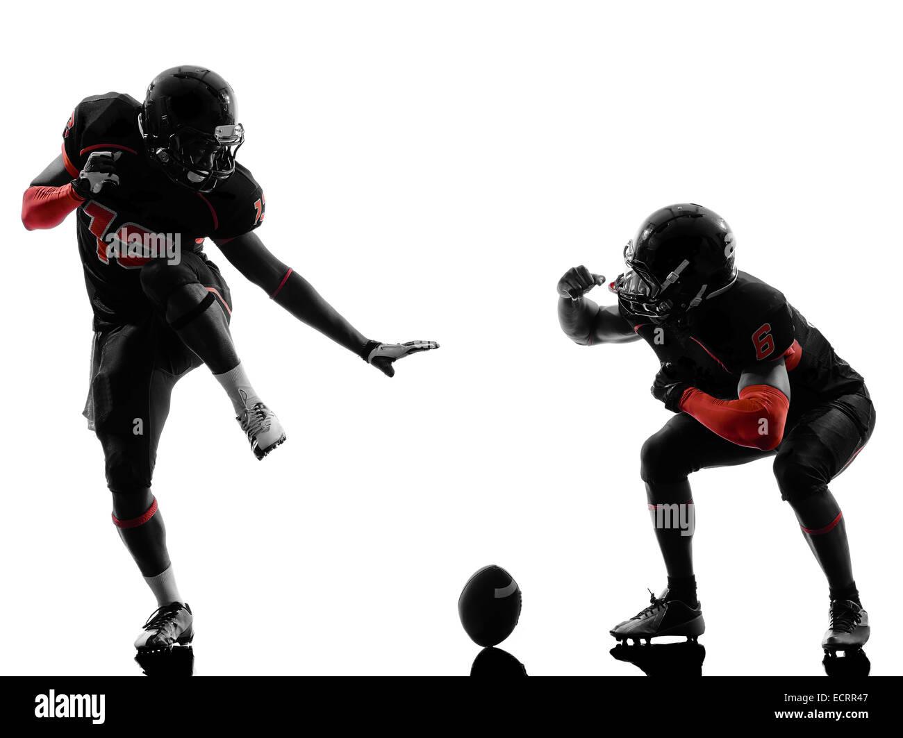 Due american football giocatori nella celebrazione di touchdown silhouette ombra su sfondo bianco Immagini Stock