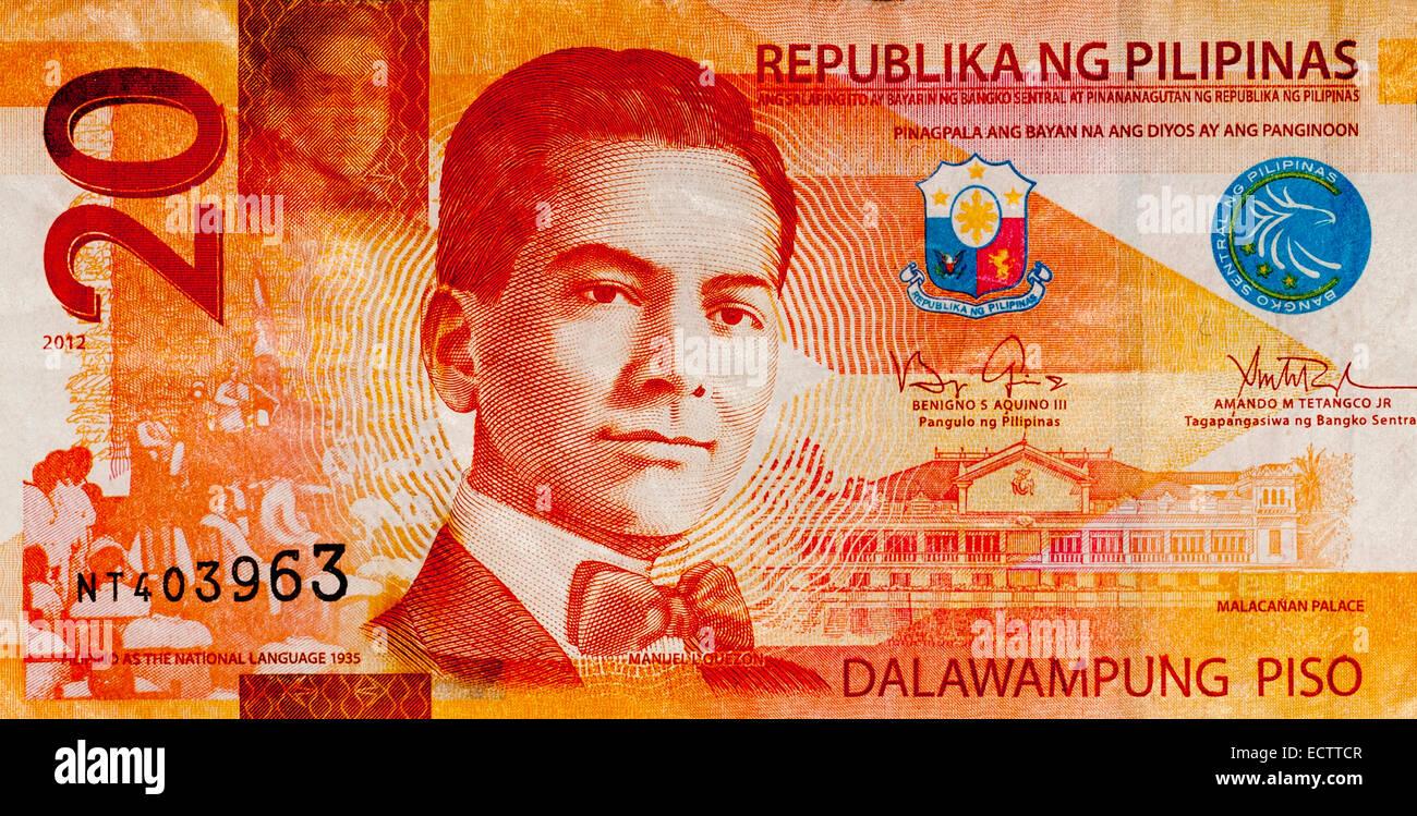 Filippine 20 Venti Piso Bank nota Immagini Stock
