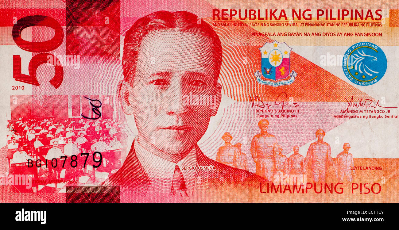 Filippine 50 cinquanta Piso Bank nota Immagini Stock