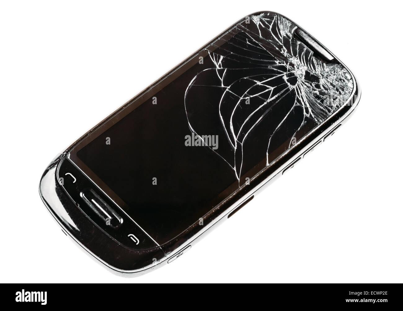 Mobile Nero Smart Phone Con Incrinato Schermo Rotto Isolate Su