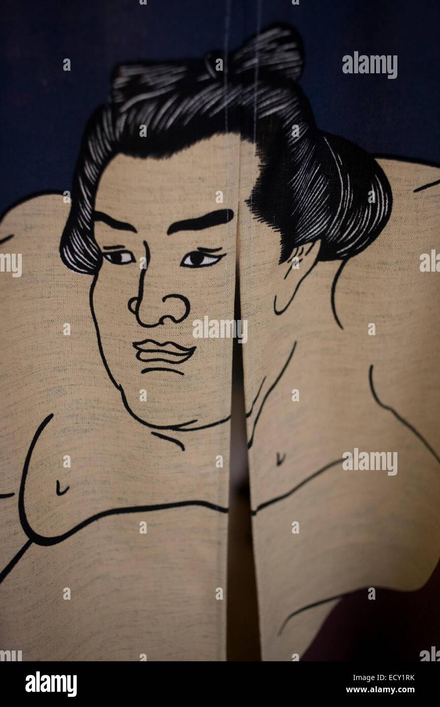 Dettaglio di un lottatore di Sumo, stampato su una tenda in 'o', un ristorante di sushi in centro a Londra. Foto Stock