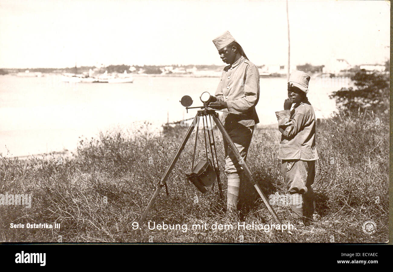 Cartolina del segnalatore con heliograph Foto Stock