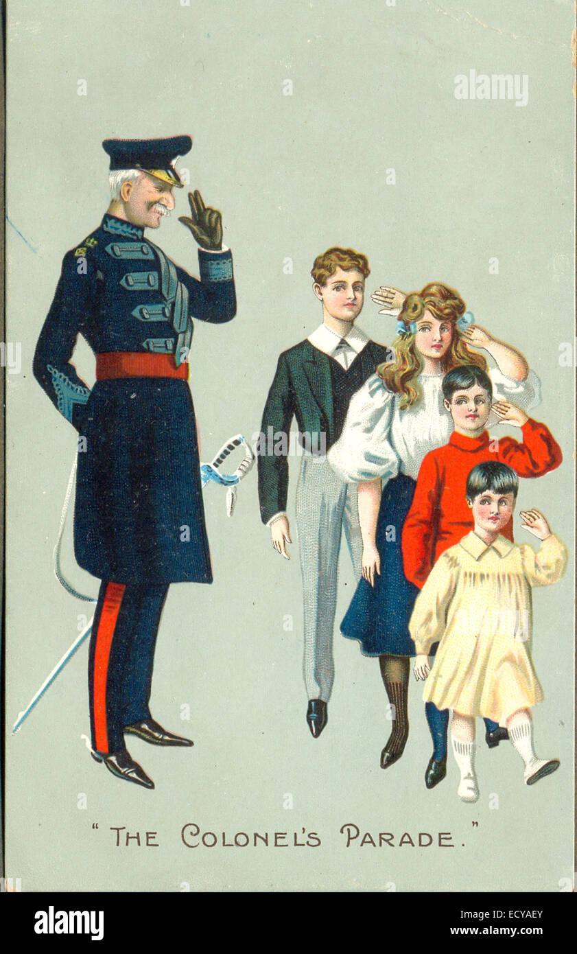 Cartolina Chromolithographed intitolata 'la parata del colonnello' circa 1905 Foto Stock