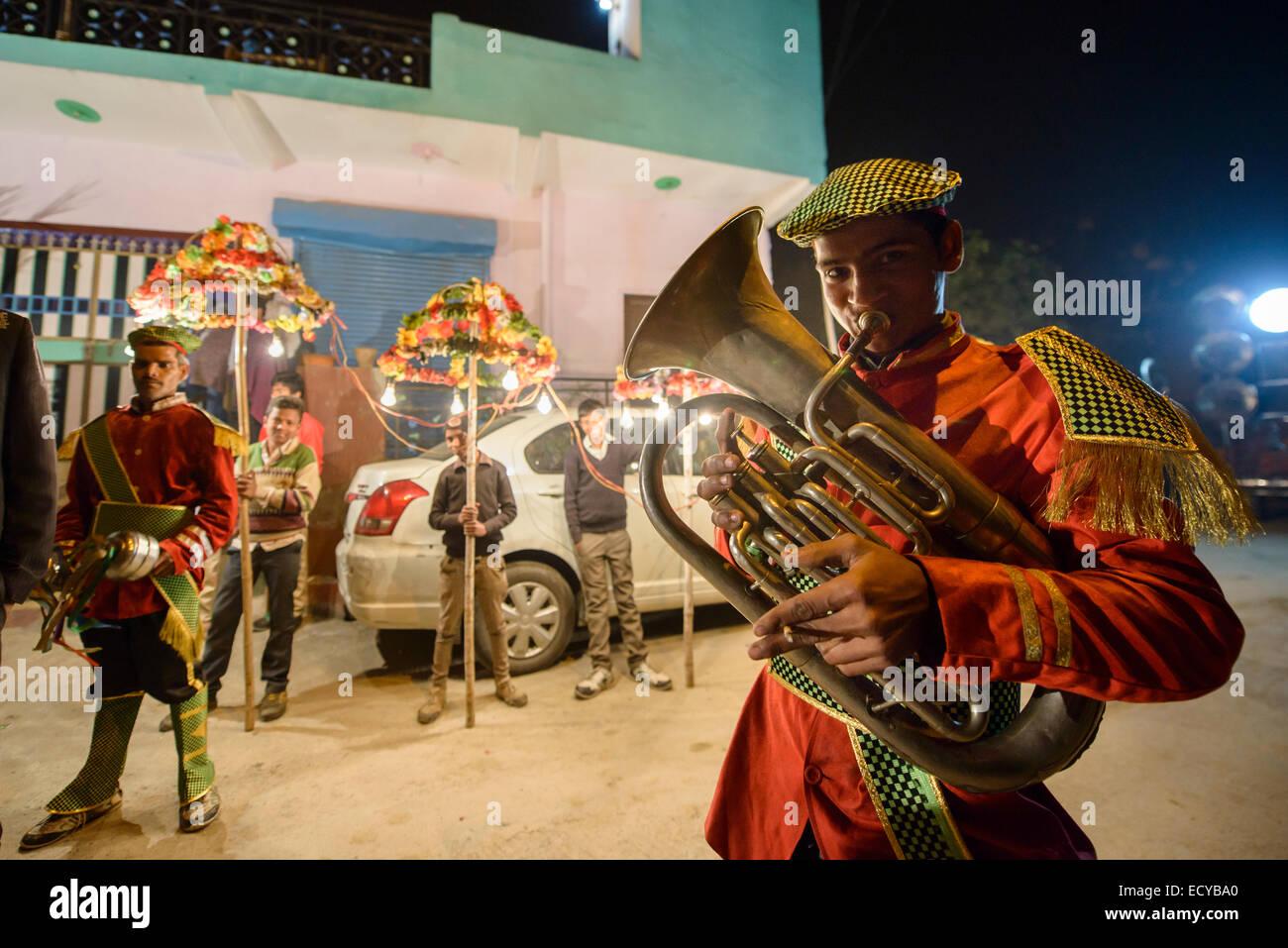 Musicisti di strada, New Delhi, India Immagini Stock