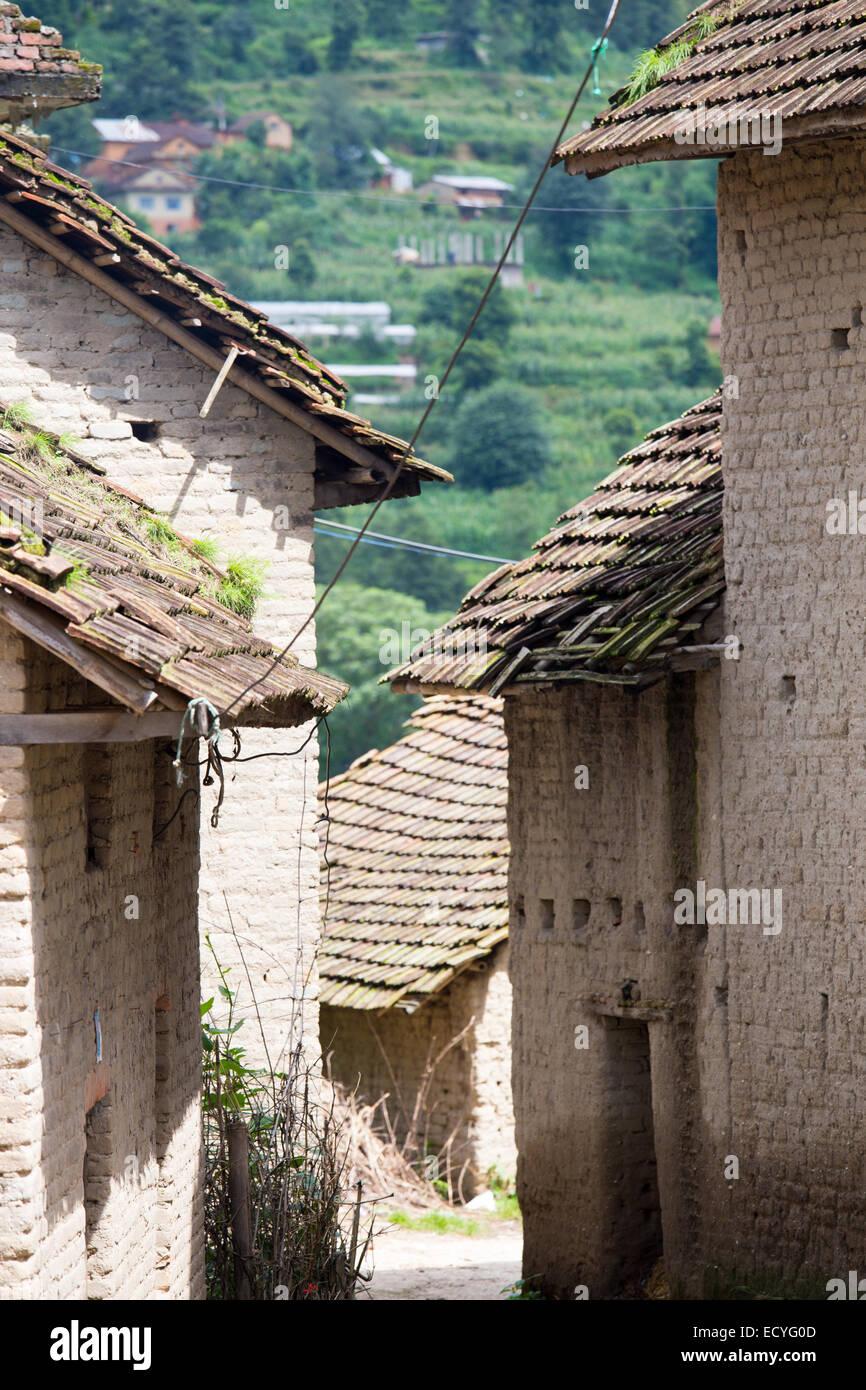 Architettura tradizionale nella valle di Kathmandu, Nepal Immagini Stock