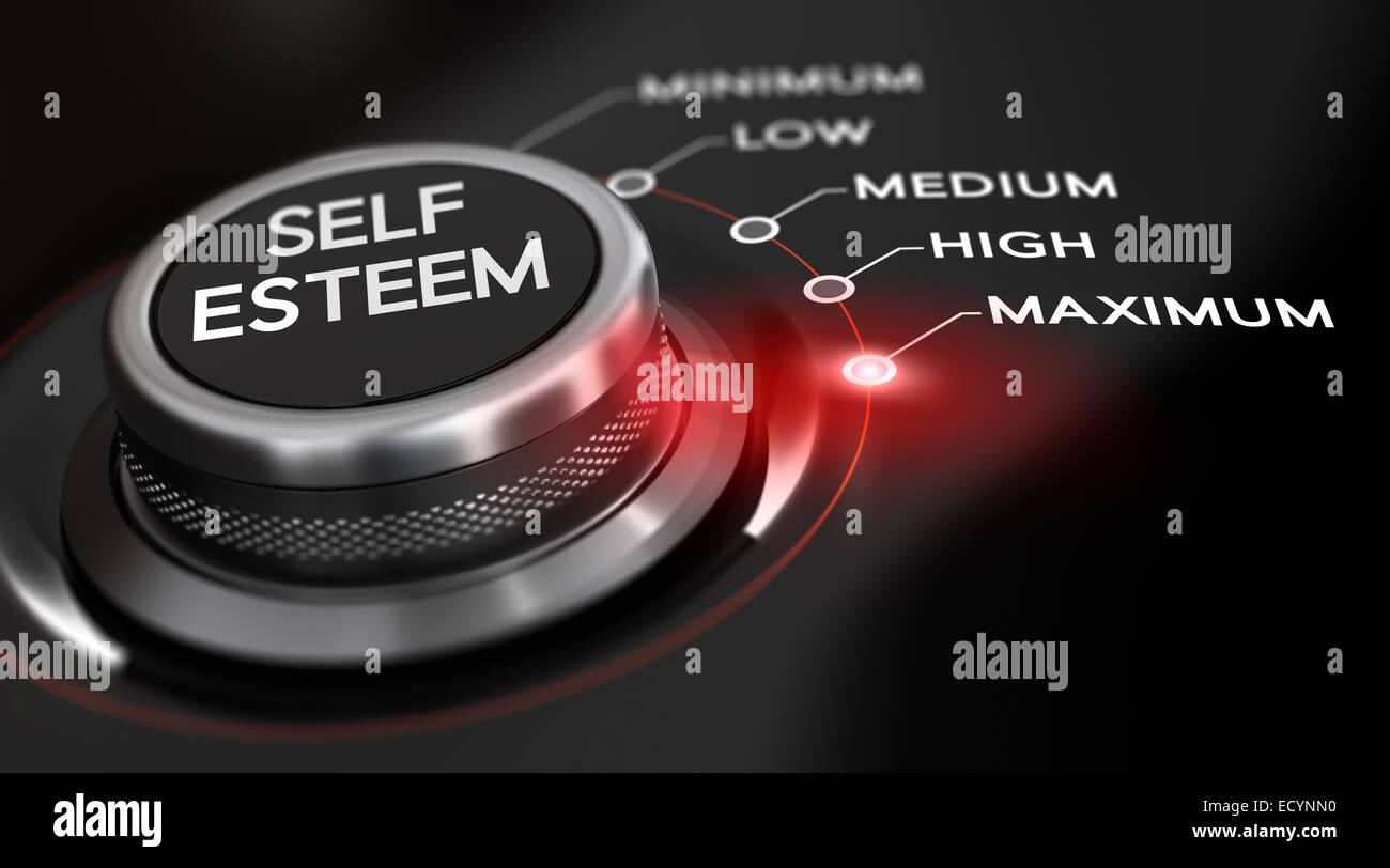 Il pulsante interruttore posizionato sulla parola massimo, sfondo nero e la luce rossa. Immagine concettuale per Immagini Stock
