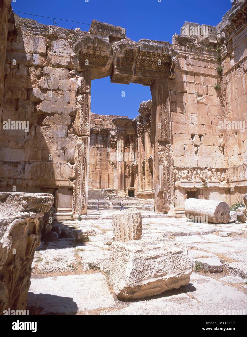 Entrata al tempio di Bacco, Baalbeck, Bekaa Valley, Repubblica del Libano Immagini Stock