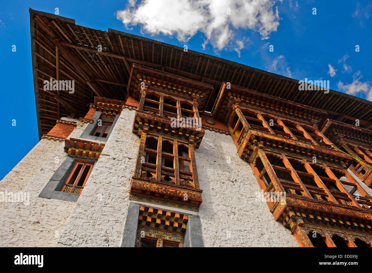 Tradizionale architettura Bhutanese, Monastero di Tango, Bhutan Immagini Stock