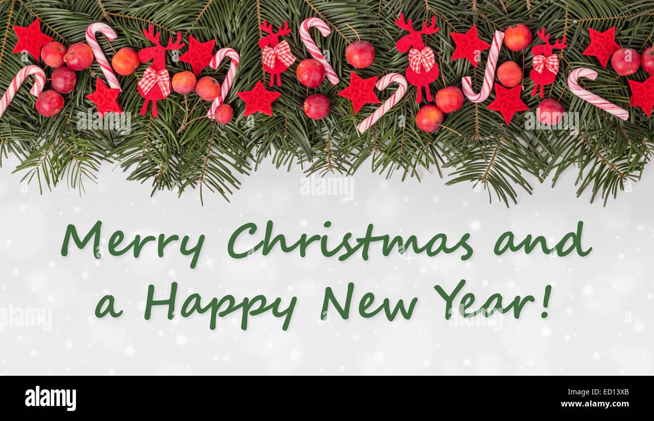 Inglese Scheda Di Natale Con Verde Di Pini Candy Canes Mele E