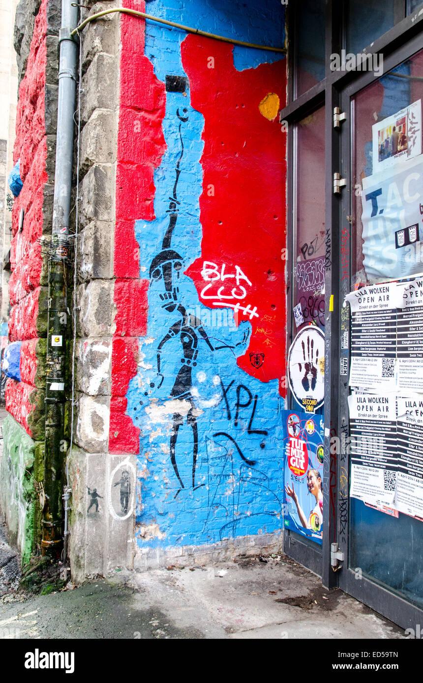 Muro di Berlino, la East Side Gallery Immagini Stock