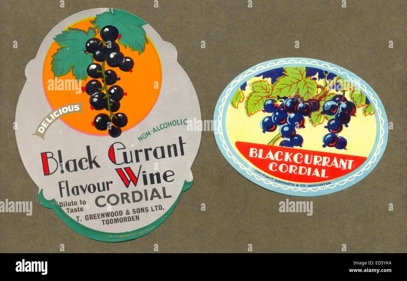Etichette per Ribes cordiale Foto Stock