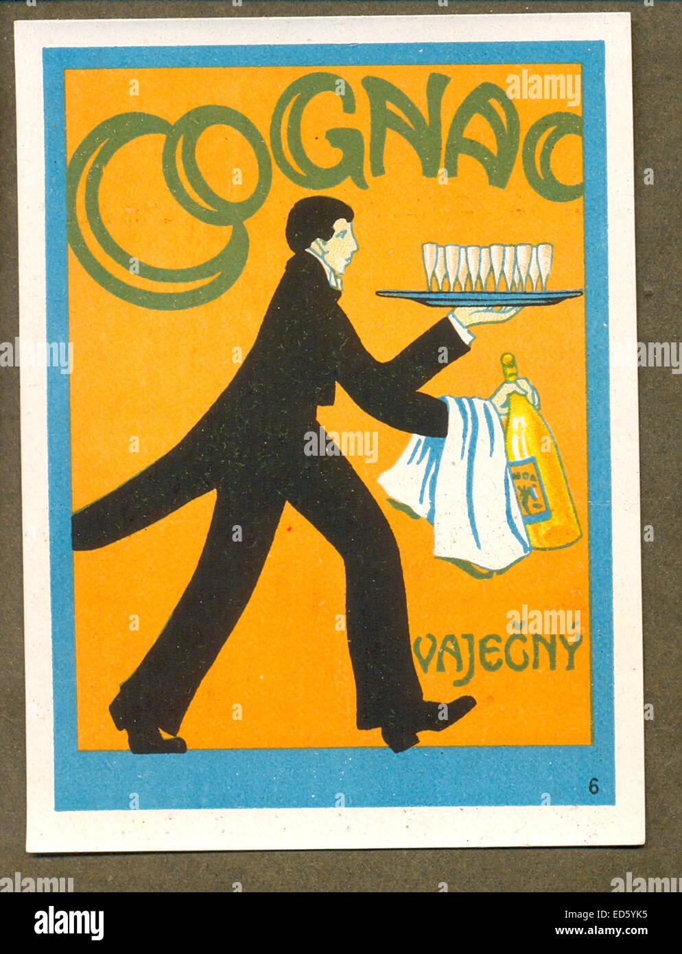 Etichetta per il Cognac cecoslovacca Foto Stock