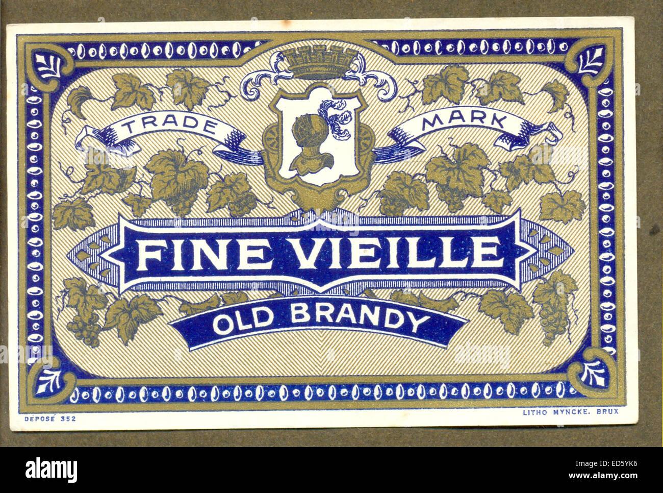Etichetta Chromolithographed per coppia di brandy Foto Stock