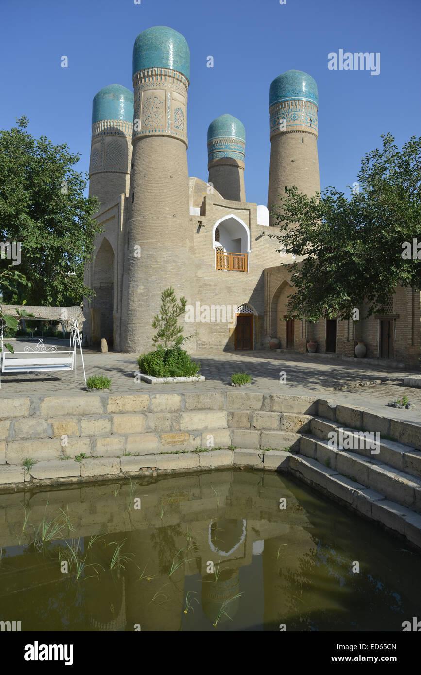 Chor Minor è punto di riferimento architettonico della città di Bukhara. Immagini Stock
