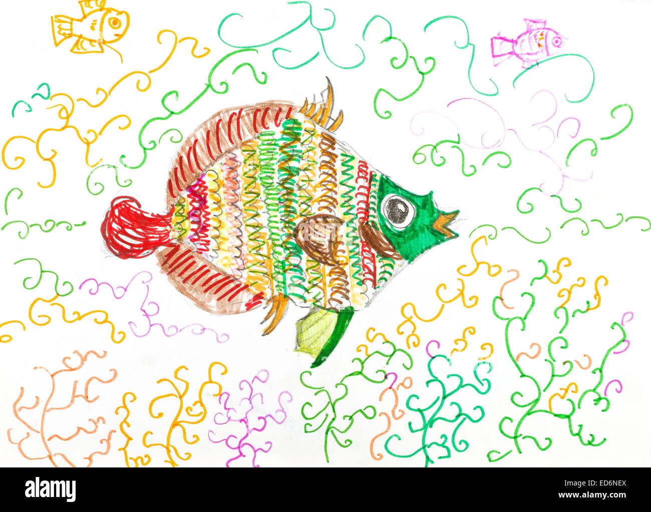 Bambino Disegno Multi Colore Pesci Pesci Tra Le Alghe Dal
