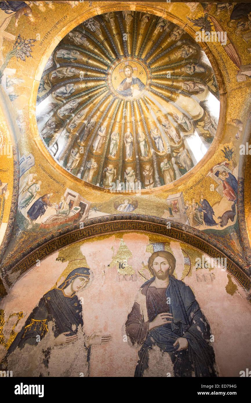 Chiesa di San Salvatore in Chora, il Museo Kariye San Salvatore affresco mosaico Gesù Cristo e discepoli, Istanbul, Immagini Stock