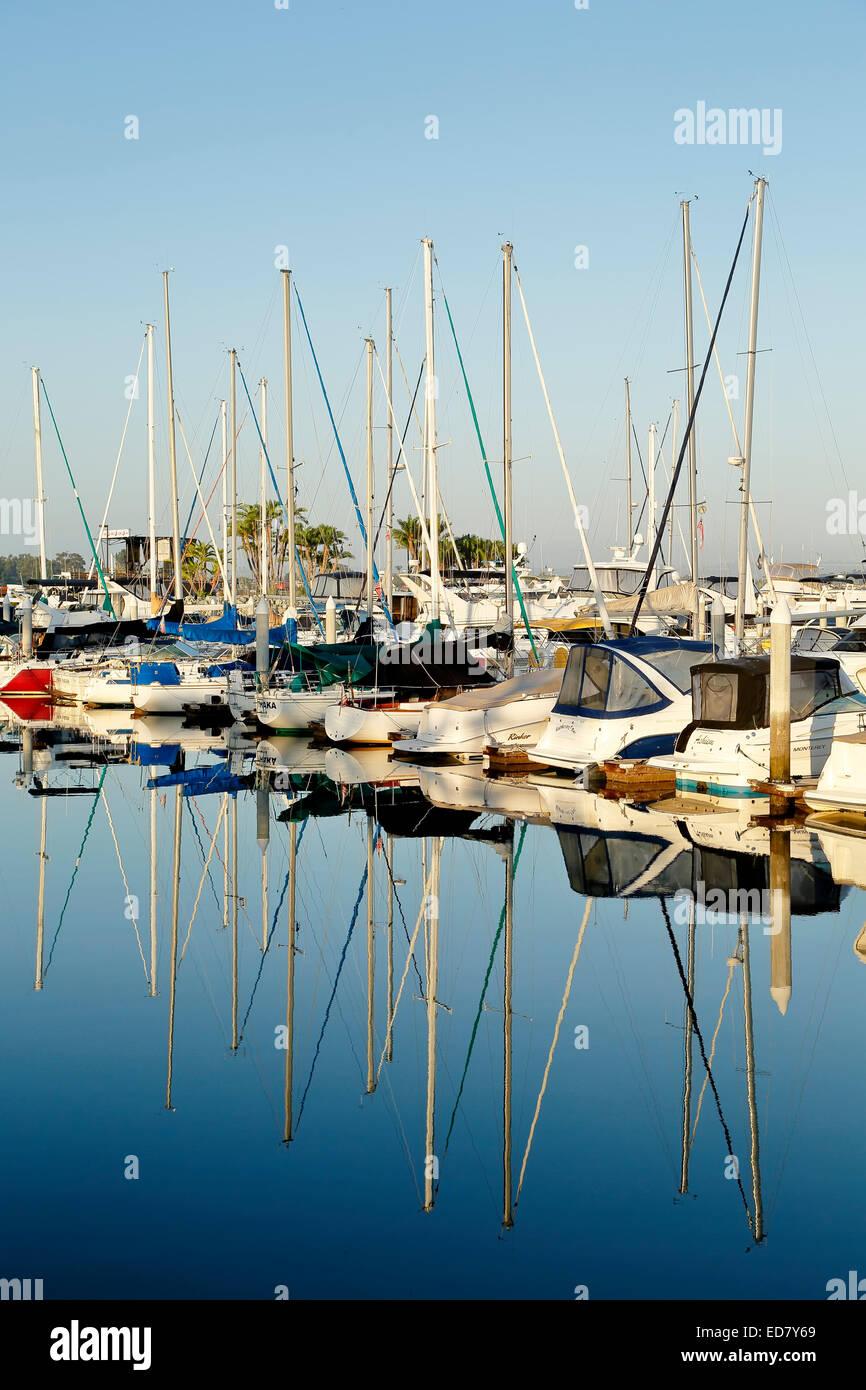 Barche a vela, embarcadero marina, San Diego, California USA Immagini Stock