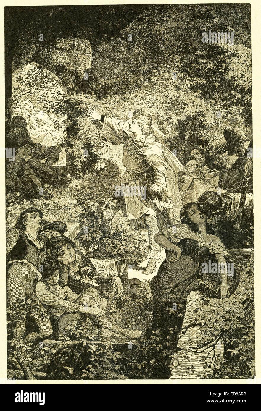 Nel 1812, i fratelli Grimm, Jacob e Wilhelm, pubblicato i Bambini e famiglia racconti, una collezione tedesco favole. Immagini Stock