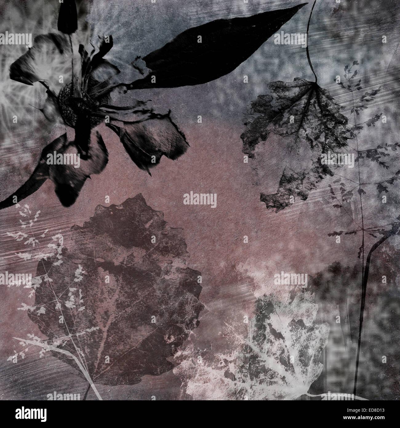 Grungy carta da parati floreale in blu e nero Immagini Stock