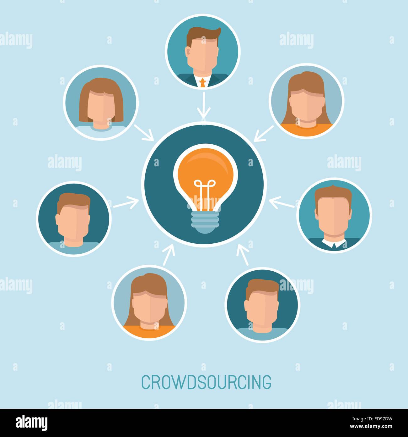 Concetto di crowdsourcing in stile piatto - abstract gruppo di persone che partecipano nella generazione di nuove Immagini Stock