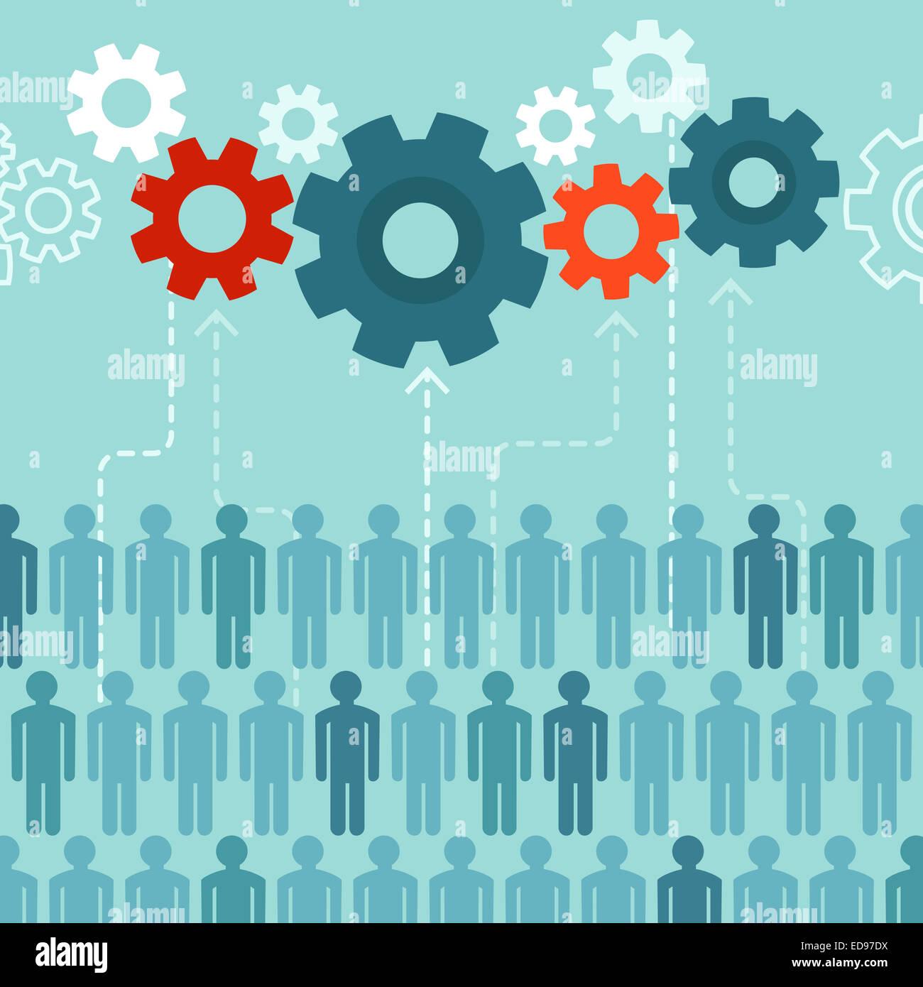 Concetto di crowdsourcing in stile piatto - abstract gruppo di persone che partecipano a generare contenuti Immagini Stock