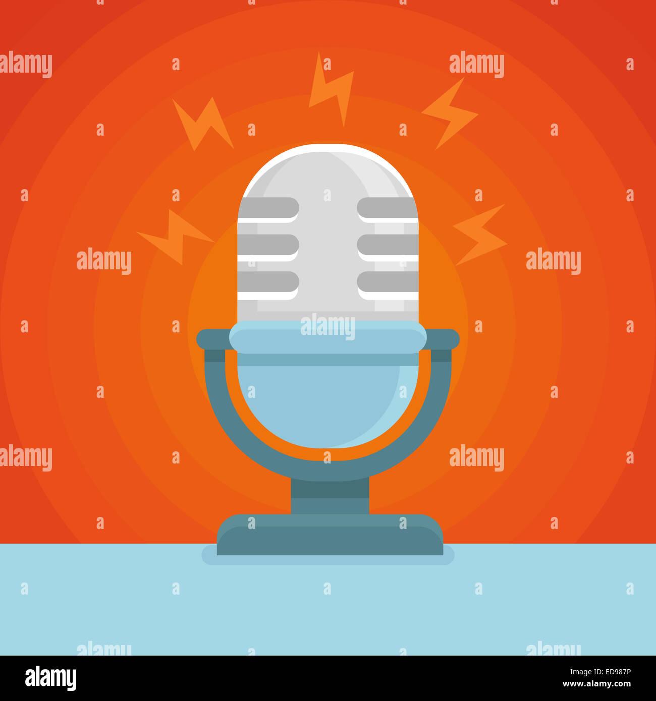 Icona Podcast in icona piatta - microfono e il concetto di suono Immagini Stock
