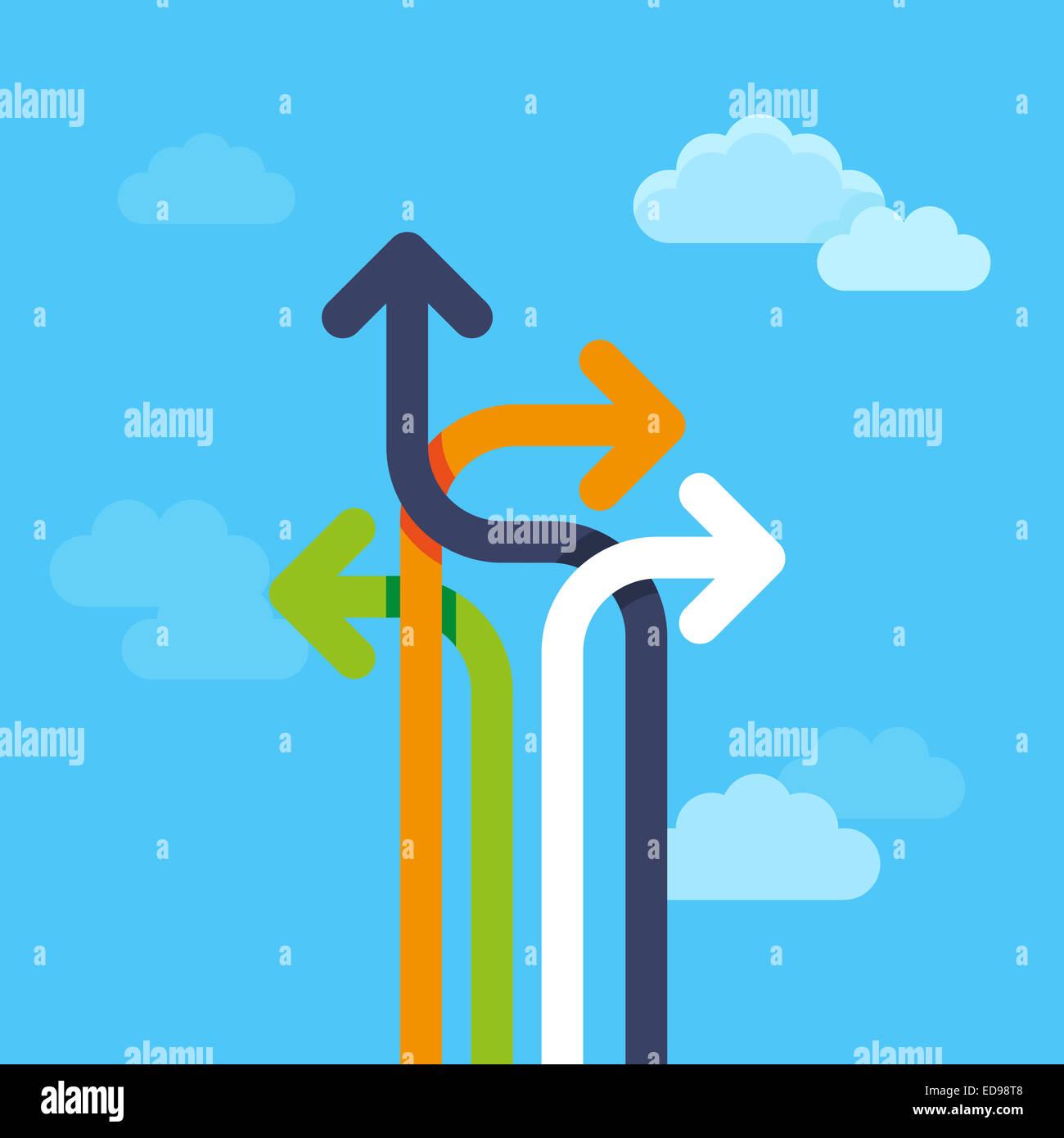 Abstract il concetto di strategia in stile piatto - La strada per il successo Immagini Stock